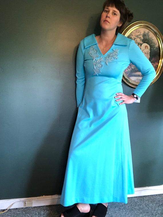 Vintage Seventies Maxi Dress, Retro Baby Blue Dres