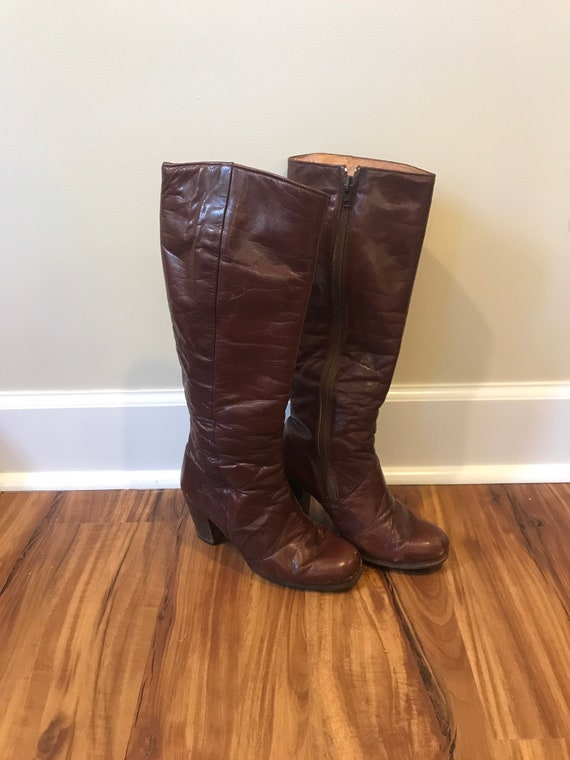 Retro Seventies Knee High Boots, Size 5.5, Made in