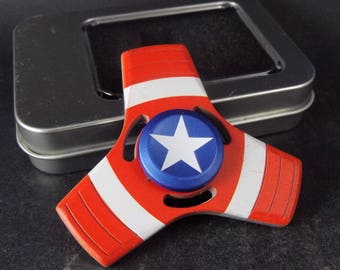 Metallic Fidget Tri Hand Spinner Finger Spin Marvel Captain America Stress Reduce Adult Kid Toy