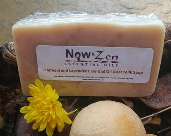 Essential Oil Goat Milk Soap made with Vegetable Oil, Goat Milk, Lye, Organic Ground Oatmeal and Lavender Essential Oil 3 oz