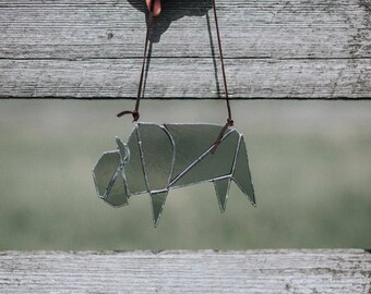 Stained glass bison