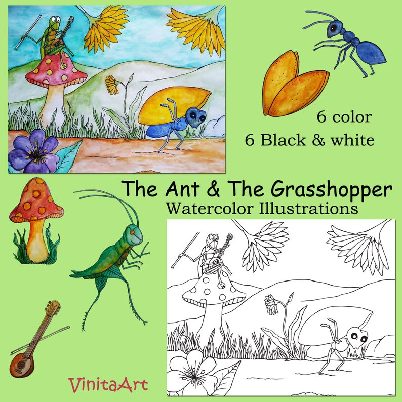 photograph relating to The Ant and the Grasshopper Story Printable titled The Ant and The Grhopper, Aesops Fables, fables, watercolor, case in point, clipart, Clip Artwork, trainer supplies, schooling, homeschool