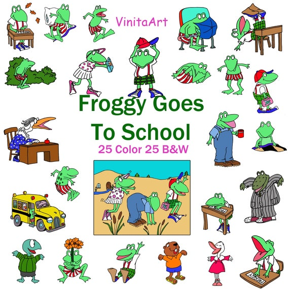 Froggy Goes To School, clip art, Clipart, Froggy, printable, coloring pages