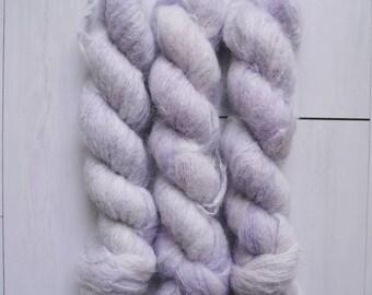 "Hand Dyed Yarn - ""Wisteria"" Suri Alpaca Fluffy Fingering weight, Indie dyed yarn, Speckle Sock Yarn 50g skein"