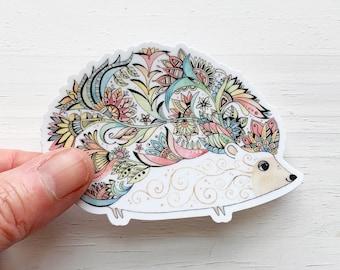 Hedgehog vinyl sticker, Hedgehog decal for Laptop, phone, water bottle, or car, mother's day gift,  hedgehog lover gift, woodland animal art