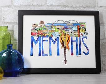 11765c30e077 Memphis Tennessee illustration art print featuring the Memphis zoo