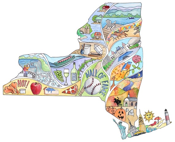 New York Map Painting Created In Watercolor And Ink Featuring Sleepy Hollow Niagara Falls Thousand Islands Lake Placid Much More