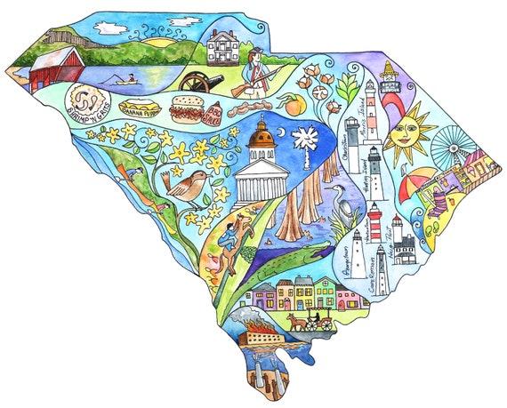 South Carolina map art, South Carolina map, State maps, South Carolina  watercolor art, Personalized art, customizable map, hometown art,