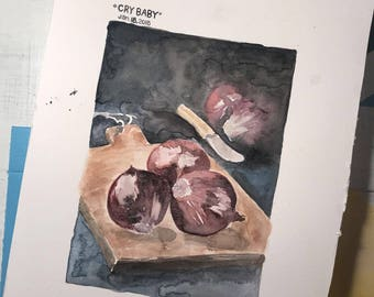 Cry Baby - Jan. 18, 2018 - Watercolor painting, 5X7
