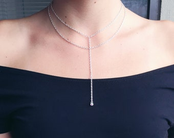 Simple Drop Necklace with Double Chain - silver lariat necklace, cz drop necklace, Y necklace