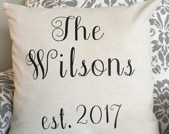 Last Name Throw Pillow, Personalized Pillow, Wedding Gift, Home Decor