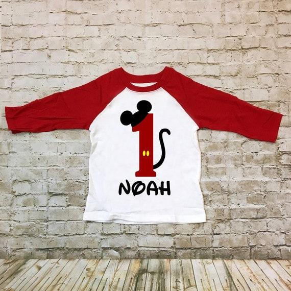Personnaliser personnalisé Mickey Mouse 1st Anniversaire T Shirt Fête Cadeau Avec Bébé Nom
