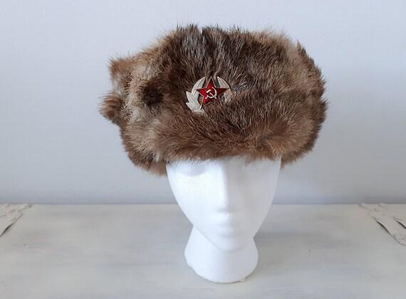 Vintage Ushanka Russian Militaria Russian Military Hat Cold  6d545b31ccc4