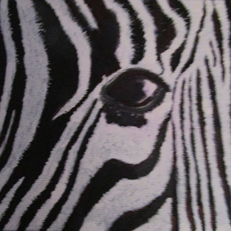 Soul of a Zebra,black and white,wall art,stripes,face,eye,painting,unique