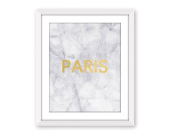 Paris Marble Faux Gold Foil Print French Minimalist Wall Art France Typography Fashion Scandinavian Poster Modern Decor Fashion Capitals