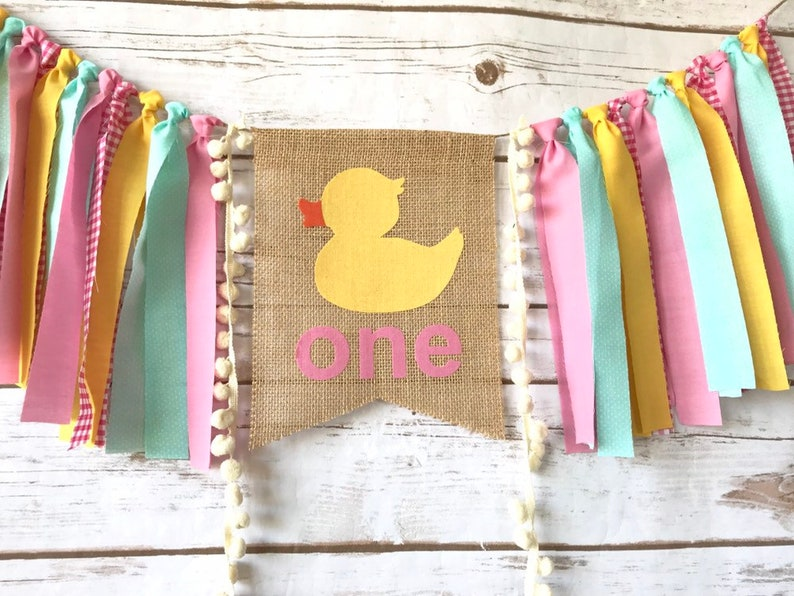 PInk and Yellow Birthday Girl Rubber Ducky Highchair Banner Ruber Ducky Cake Smash Rubber Ducky Invite Rubber Ducky Birthday