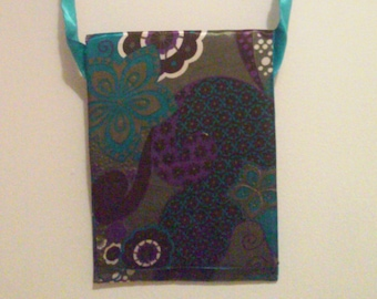 Teal, Purple, Brown, and Green Messenger Bag with Ribbon Strap