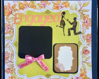 Engagement Scrapbook, Premade Scrapbook, 12x12 Scrapbook Page, Scrapbook Layout, Scrapbooking kits, Engagement Gifts, Premade Wedding Gift