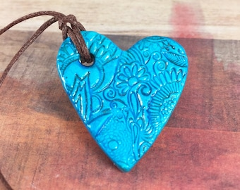 Essential oil diffuser pendant - Essential oil diffuser necklace - Aromatherapy - Clay diffuser necklace - Aromatherapy jewelry - BLUE