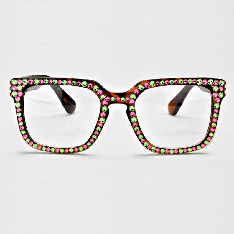 e5b474489350 AKA Glasses Pink And Green Rhinestone Square Glasses Alpha