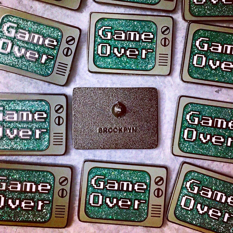 Enamel Pin  Video Game Enamel Pin   Game Over Enamel Pin  image 0