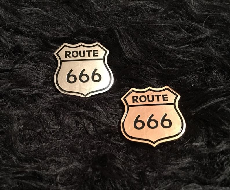 Enamel Pin  Route 666 Enamel Pin  666 Pin  Route 666 Pin  image 0