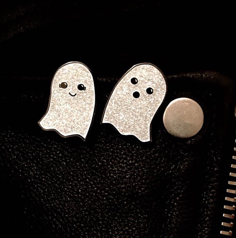 Enamel Pin  Glitter Ghost Enamel Pin  Pin Badge  Pin Set  image 0