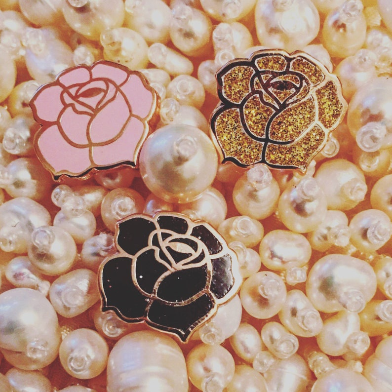 Enamel Pin  Mini Rose Enamel Pin  Rose Gold Pin  Lapel Pins image 0