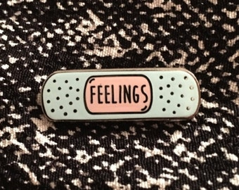 Enamel Pin - Feelings Enamel Pin - Sad Pin - Broken Heart Pin - Bandage Pin - Lapel Pin - Pin Badge
