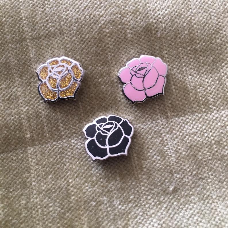 Enamel Pin  Mini Rose Enamel Pin  Silver Pin  Rose Gold Pin image 0