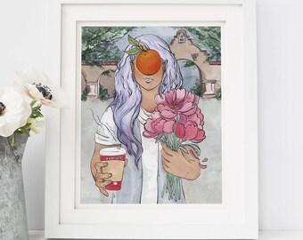 """8"""" × 10"""" Orange Riverside Girl Fine Art Paper Giclee Print"""