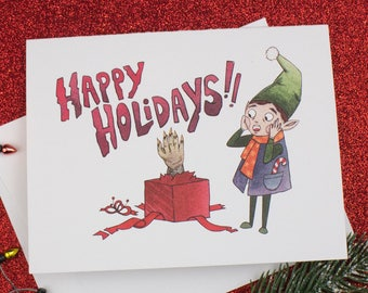Elf Zombie Monster Gift Holiday Christmas Card