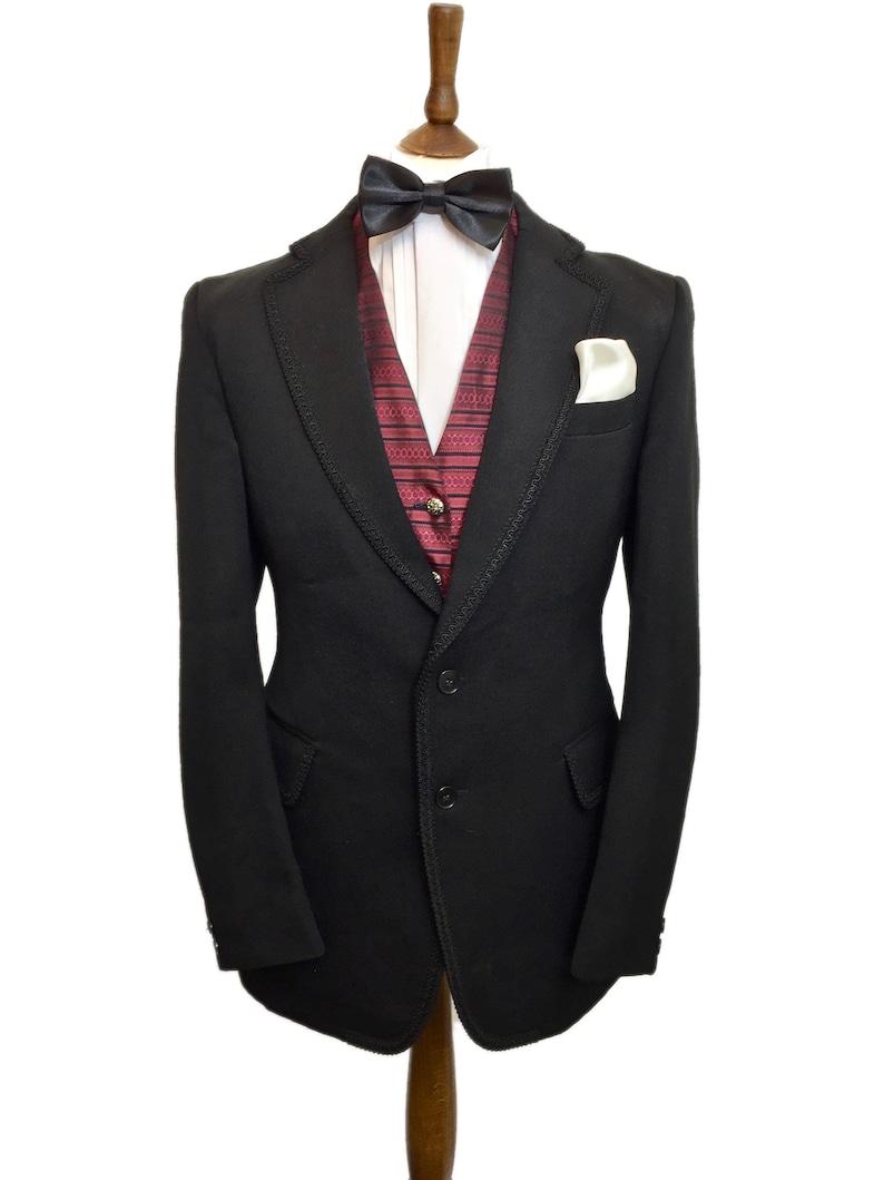Men/'s Suit British Tailor Black Wool Blend Tailored Fit 42R W36 L31