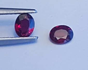 Two Natural  0.74cttw 4.8mm x 3.9mm Ruby