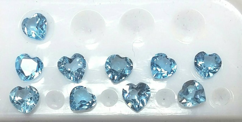 5 pieces of 5mm heart shape natural swiss blue Topaz image 0