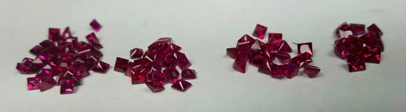 Natural square princess cut Ruby. Blood red. 2mm 2.25mm 2.5mm image 0