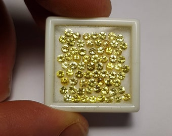 Natural 2, 2.25, 2.5, 2.75, 3, 3.5mm round Yellow Sapphire