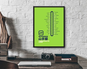 Tokyo and Osaka Train Station Line Map Yamanote, Ginza, Marunouchi, Keihin-Tohoku Poster Wall Art