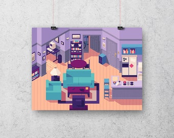 Jerry Seinfeld Apartment 5A Isometric Poster Art Print