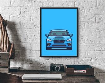 Subaru WRX STI 4th Gen Car Poster Art Print Wall Art