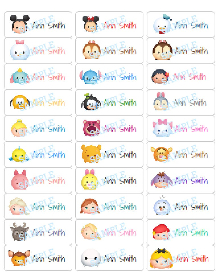 It is a photo of Clean Tsum Tsum Characters Names