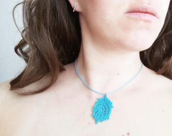 Turquoise fall leaf jewelry, Necklace crochet, Necklace for her, Jewelry turquoise, Necklace boho jewelry, Boho Necklace turquoise leaf
