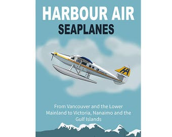 Harbour Air Seaplanes - Graphic Poster - Vancouver, Victoria, Nanaimo, Gulf Islands - 2 Sizes