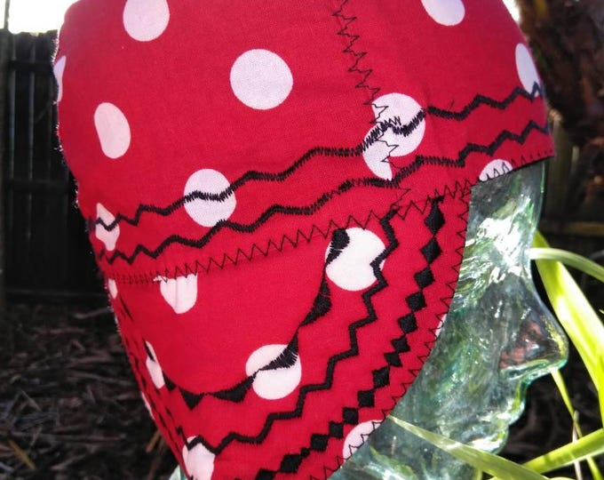 Red polka dot welding cap
