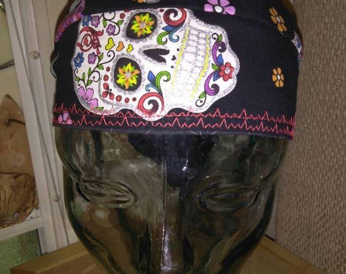 Sugar Skull Do-rag helmet cap welding cap cook medical hair wrap sun protection hard hat