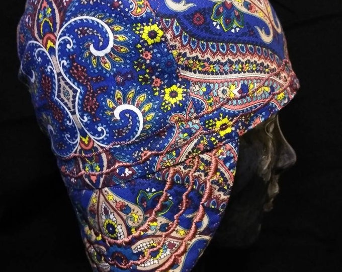 Navy Paisley Cotton Duck Welding cap