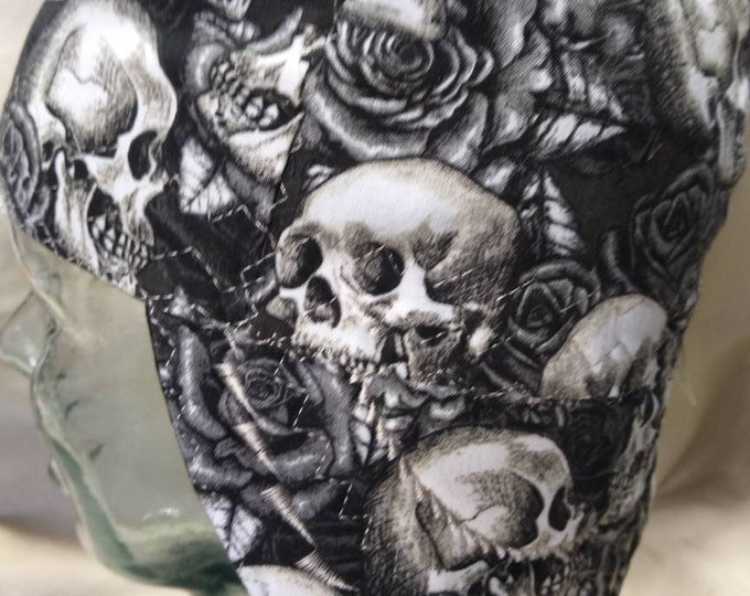 Black and White Skulls and Roses Welding Cap
