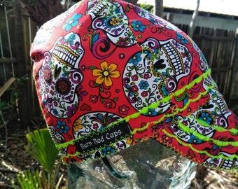 Day of the Dead Roses Skulls Bandana Head Band Scarf Chemo Biker dog feeanddave
