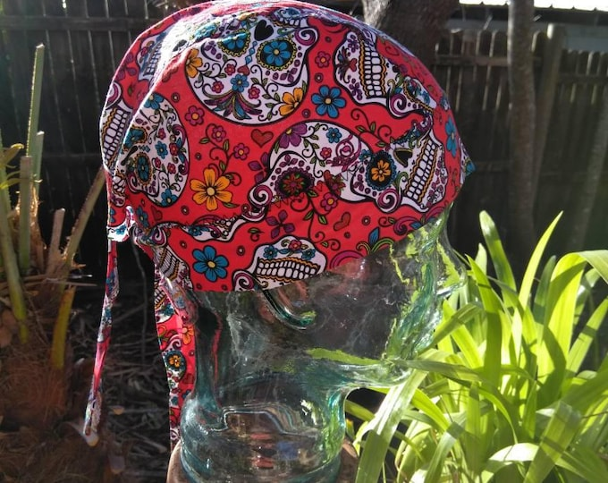 Red Sugar Skull Do rag