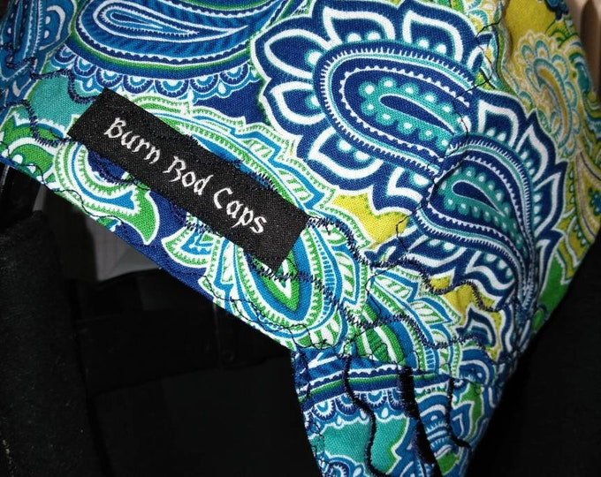 Blues and greens Paisley welding cap